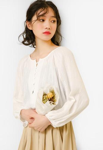 Shopsfashion white Button Up Textured Cotton Blouse C48EDAA85EFD76GS_1