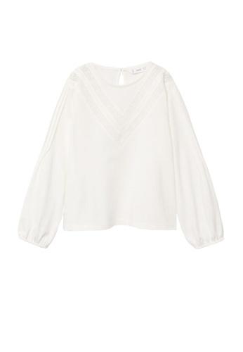 MANGO KIDS white Openwork Details Organic Cotton T-Shirt FEE41KAD1615C0GS_1