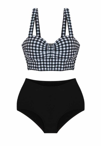 ZITIQUE black Women's Grid Pattern Two-piece Swimsuit - Black 64325USCBBC445GS_1