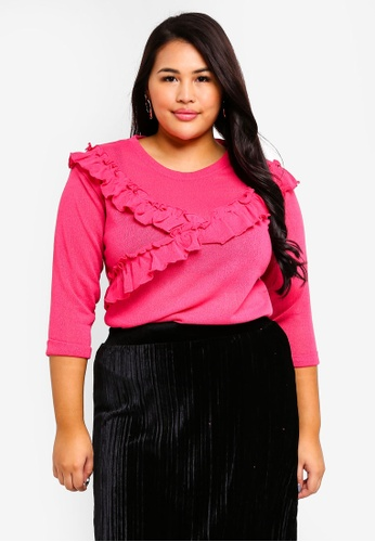 Junarose pink Plus Size Fluf Knit Pullover 82DF0AA1763114GS_1