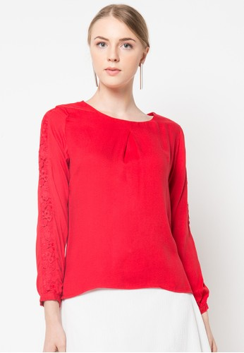 WHITEMODE red Regan Blouse WH193AA07WVCID_1