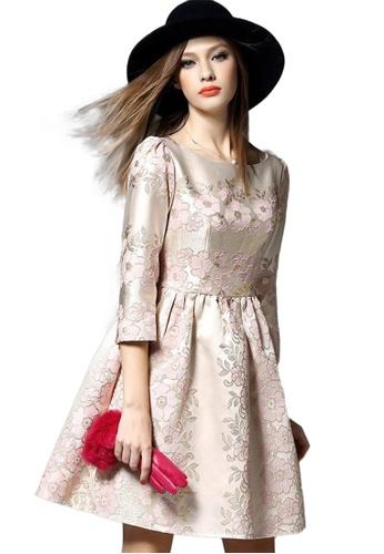 Sunnydaysweety pink Flower Pattern One Piece Seven Point Sleeve Dress CA062148S70 477B8AA286D0BEGS_1