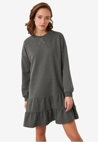 Trendyol grey Ruffle Tier Sweater Dress 3DF6BAAEAA8E0EGS_1