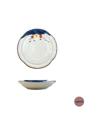 &glazed white and blue &Glazed Tokyo Gardens 6.8-inch Small Round Plate 9FE9BHL2A36952GS_1