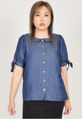 Cheetah blue Arissa Plus Size Puffed Short Sleeve Blouse - ARS-13566 35D72AAADCC557GS_1