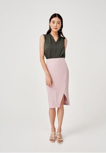 Love, Bonito pink Weils Panel Midi Pencil Skirt 7E75BAABCB3493GS_1