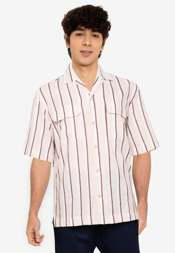 MANGO Man brown Striped Cotton Linen Shirt 8AF08AA860BF27GS_1