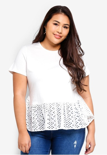 LOST INK PLUS white T Shirt With Broderie Hem E54EEAA5AFF219GS_1