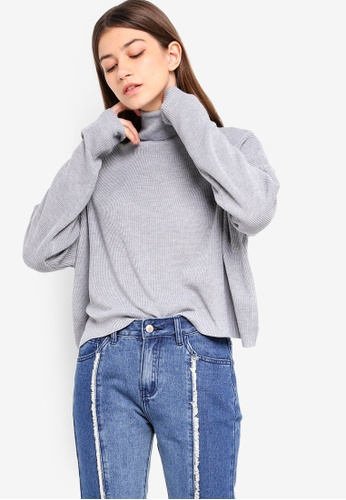 Something Borrowed grey Oversized Cropped Knit Sweater 685A8AAD80F876GS_1