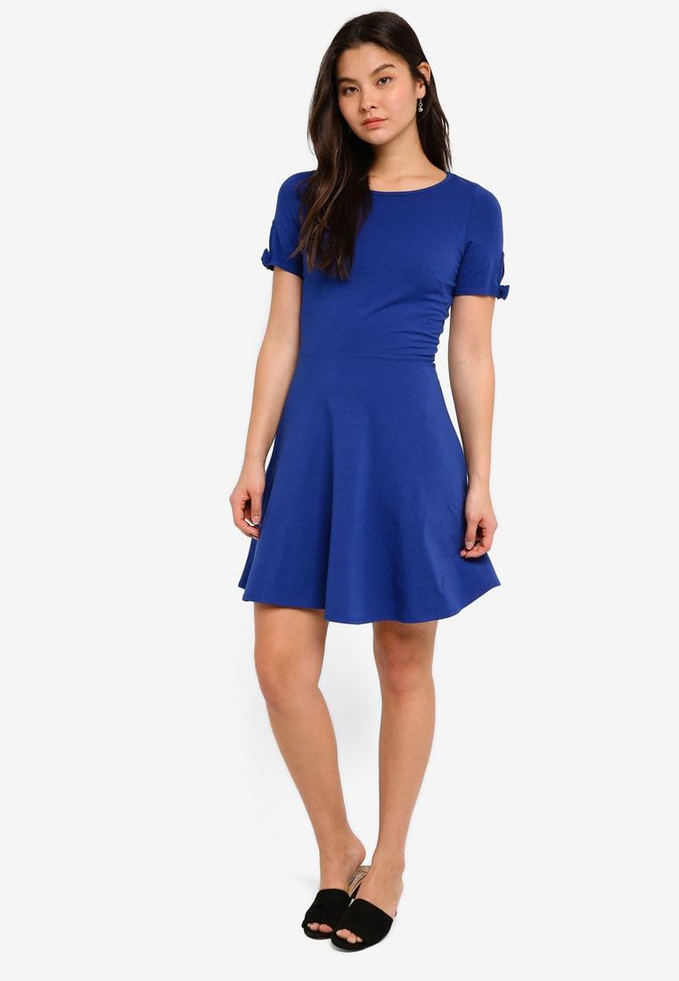 Sleeve Perkins Blue Skater Bow Blue Dress Dorothy HXnww501W