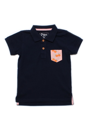 Mini Moley navy Mandarin Orange Print Pocket Polo T-Shirt C8089KA4AFF5ACGS_1