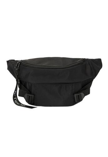 Lara 黑色 男士最新韓版牛津布防水戶外運動休閒腰包單肩包 - 黑色 7BD2DAC0AC30E7GS_1