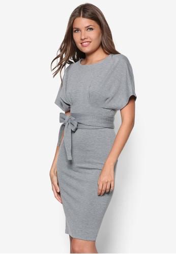 繫帶寬袖貼身洋裝,esprit 衣服 服飾, 洋裝