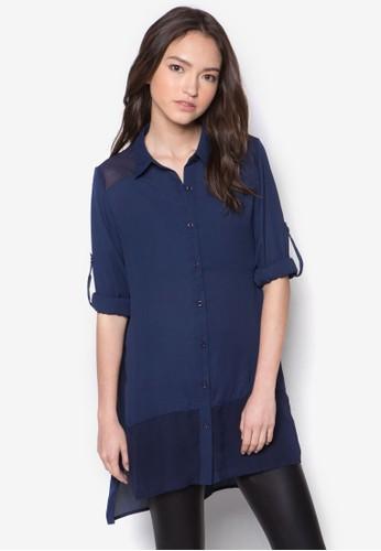 拼接男友zalora 內衣風長袖襯衫, 服飾, 上衣