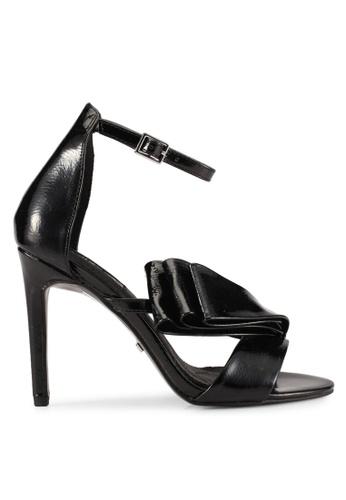 TOPSHOP 黑色 褶飾繞踝細跟鞋 TO412SH0SAH1MY_1