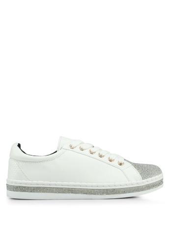 River Island 白色 綁帶鑽飾休閒鞋 838ADSHB6F1E60GS_1