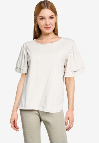 LOWRYS FARM white Ruched Ruffled T-shirt 2467AAA4BFA4EEGS_1