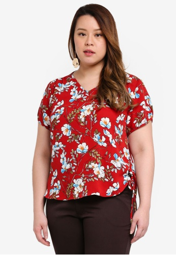 Ex'otico red Plus Size Short Sleeve V-Neck Blouse 6FB4EAA4795204GS_1