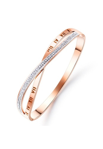 YOUNIQ YOUNIQ CROSS Infinity 18K Rosegold Titanium Steel Roman Bangle with Cubic Zirconia 91A1CACEA988EFGS_1