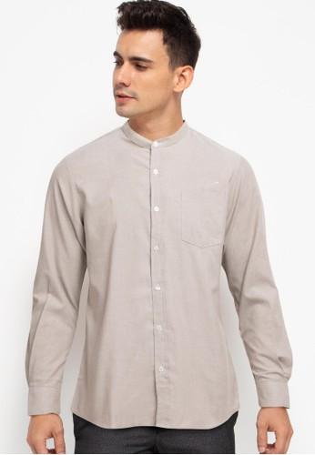 Halvor brown Oxford Stand Collar Long Sleeve Shirt 90E1BAA9A1C04DGS_1
