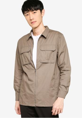 ZALORA BASICS green Zip Through Long Sleeve Utility Shirt 22292AACF8EE5BGS_1