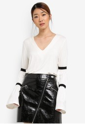 Something Borrowed white Double Strap Bell Sleeve Top E3753AA9D2F320GS_1