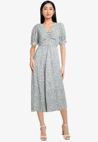 Heather blue Print Midi Dress 5E7B5AADF16BFEGS_1