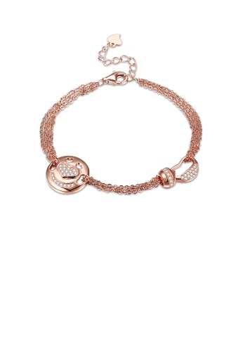 Glamorousky white 925 Sterling Silver Plated Rose Gold Fashion Heart Circle Bracelet with Cubic Zircon FD29DACEA2A769GS_1