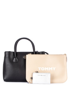 8e53ff4b Tommy Hilfiger black Charming Tommy Med Work Solid Tone Faux Leather Tote  Bag With Pouch BFFB4AC21809ABGS_1