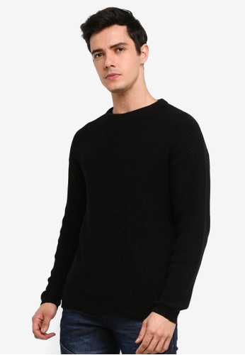 !Solid black Randall Waffled Knit Sweater C63B6AA2949C71GS_1