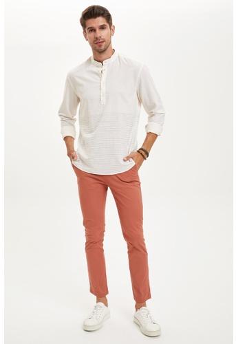 DeFacto white Man Woven Long Sleeve Shirt 4177FAAC20A96EGS_1
