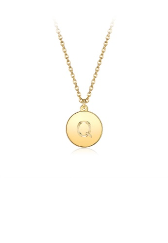 Glamorousky silver Fashion Simple Plated Gold Letter Q Round Pendant with Necklace 61188AC5E76CD3GS_1