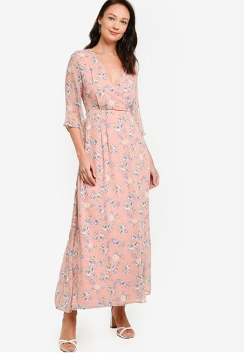 ZALORA OCCASION pink Wrap Front Maxi Dress 59A98AA1532519GS_1