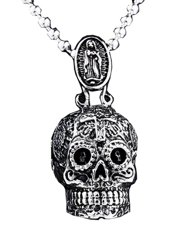 LYCKA silver J171089 316L Titanium Steel Carved Virgin Skull Necklace - Silver LY529AC0GYBPSG_1