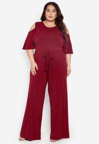 d121ad776af0 Ashley Collection Plus red Plus Size Cut Out Shoulder Jumpsuit  4EEAFAA29957C3GS 1