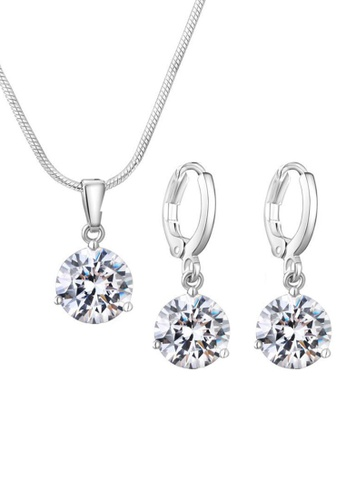 YOUNIQ white YOUNIQ Elsa Silver Necklace Pendant with Brilliant Cut Cubic Zirconia & Earrings set (White) YO999AC0S8TYMY_1