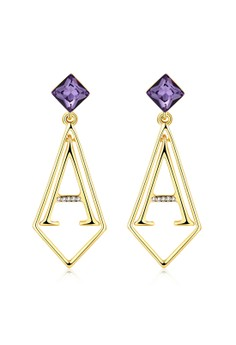 E1093-B Shining Purple Zircon Long Drop Letter A Shape Earrings Party Jewelry