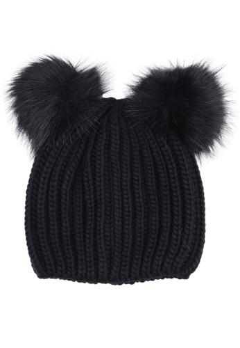b47336154eb Buy Miss Selfridge Double Fur Pom Hat Black Online on ZALORA Singapore
