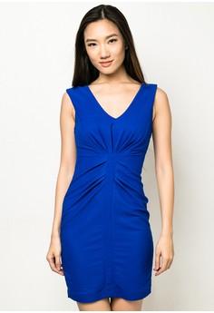 Ridged Semi Pleated Detail Dress