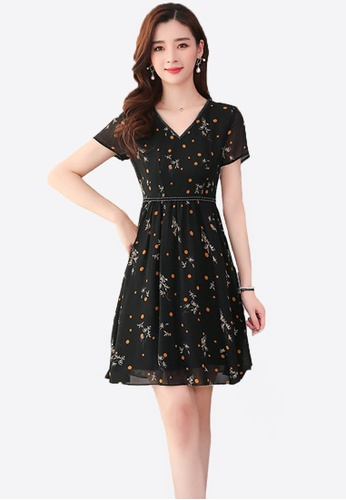 Halo black Floral Printed Chiffon Dress B0A48AAA18319AGS_1