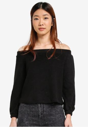 Something Borrowed black Cosy Off Shoulder Top 718E7AAE9C9484GS_1