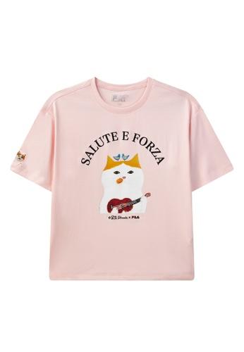 FILA pink FILA x Pepe Shimada Ginger Cat Print Dropped Shoulders Cotton T-shirt 6CE68AA3836852GS_1