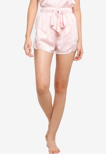 ZALORA BASICS 粉紅色 Lounge Lace Detail Satin Shorts 989DAAA2875F8BGS_1