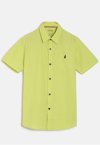 ZALZA green Snow Drop 100% Organic Cotton Woven Boys Short Sleeve Shirt - Citrus C888DKAC2C49E9GS_1