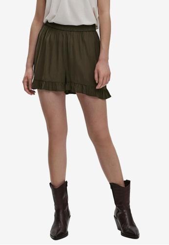 Vero Moda 綠色 Elliot High 腰圍 褶飾短褲 427D2AA06ECC14GS_1