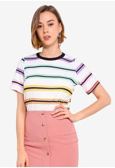 a8df66412425 Boohoo white Layla Rainbow Stripe T-Shirt 1494EAA481D3FCGS_1