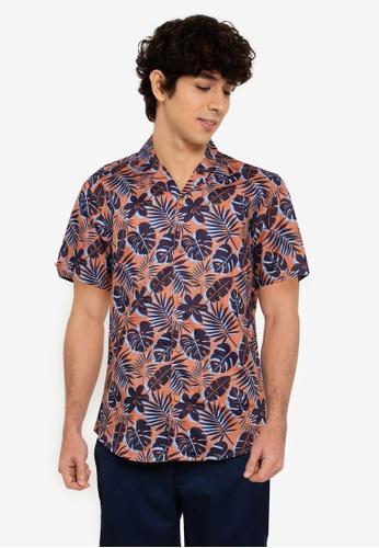 Ben Sherman orange Botanical Silhouette Print Shirt 183BAAAFAAA1E9GS_1