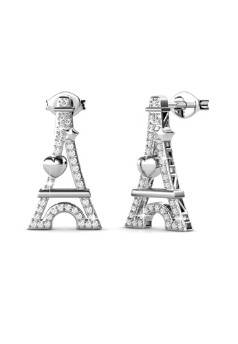 Her Jewellery silver Paris Love Earrings (White Gold) - Licensed Genuine Crystals from Swarovski® HE581AC0RVSIMY_1