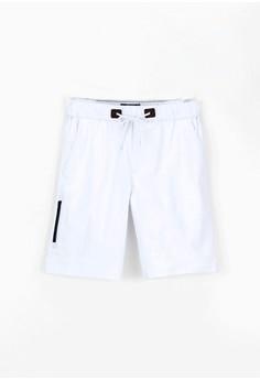 【ZALORA】 休閒簡約。防水拉鍊。棉質彈力短褲-02369-白色