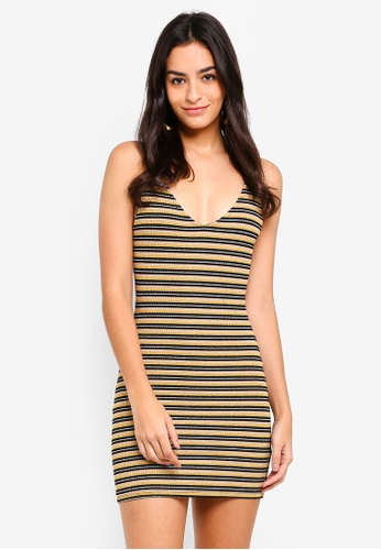 TOPSHOP multi Lurex Stripe Bodycon Dress 2502AAADEA85E3GS_1
